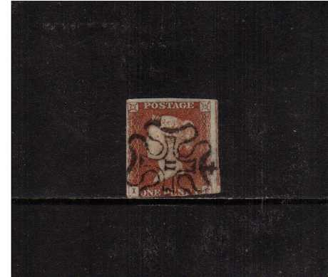 view larger image for SG 8m (1841) - 1d Red Brown A three margined stamp cut into at foot lettered 'I-F' cancelled with a Maltese Cross with a number '11' in centre. SG Cat �250