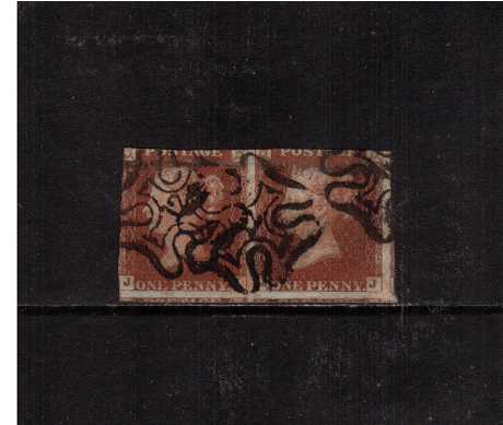 view larger image for SG 8m (1841) - 1d Red Brown pair cut into on two sides lettered 'J-I' and 'J-J' cancelled with three Maltese Cross strikes each with a number '12' in centre. SG Cat �500
