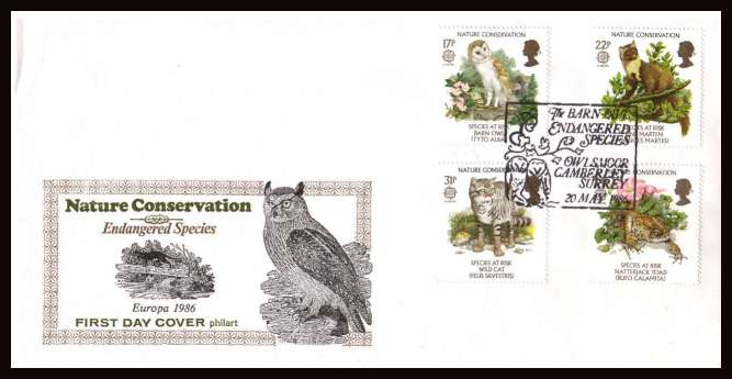view larger back view image for EUROPA - Nature Conservation set of four on unaddressed colour illustrated PHILART first day cover cancelled with THE BARN OWL - OWLSMOOR CAMBERLEY SURREY illustrated special cancel dated 20 MAY 1986