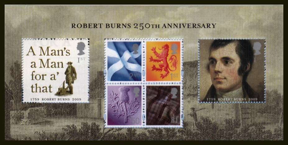 view larger image for SG MSS157 (22 Jan 2009) - 250th Birth Anniversary of Robert Burns minisheet