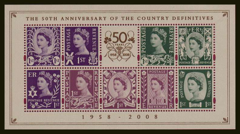 view larger image for SG MSNI153 (29 Sept 2008) - 50th Anniversay of Country Definitives minisheet