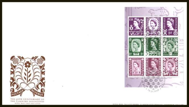 view larger back view image for Country Definitives booklet pane of nine on an unaddressed official Royal Mail FDC cancelled with the official alternative FDI cancel for GLOUCESTER dated 29 SEPTEMBER 2008.
