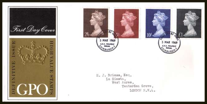 view larger back view image for 2/6d - �1 High values set of four on neatly typed official Post Office FDC cancelled with BRITISH PHILATELIC BUREAU - EDINBURGH cancel dated 5 MAR 1969