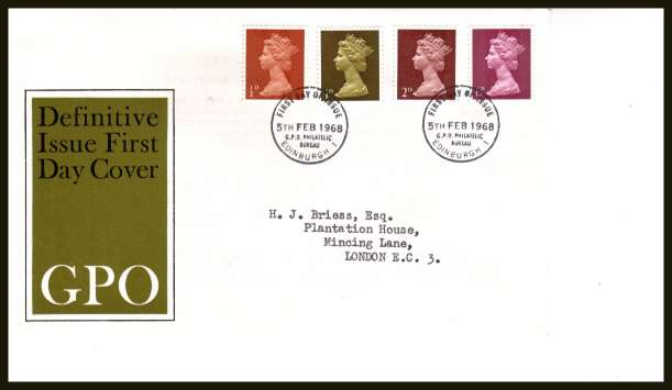 view larger back view image for Machin  - �d  1d 2d 6d set of four on neatly typed official Post Office FDC cancelled with BRITISH PHILATELIC BUREAU - EDINBURGH cancel - Type C - dated 5 FEB 1968.