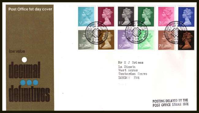 view larger back view image for The initial Machin definitive set of twelve on neatly typed official Post Office FDC cancelled with BRITISH PHILATELIC BUREAU - EDINBURGH FDI cancel  dated 15 FEB 71. Also has the handstamp 'POSTING DELAYED BY THE POST OFFICE STRIKE 1971'
