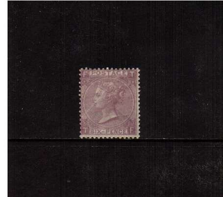 view larger image for SG 97 (1865) - 6d Lilac - Watermark Emblems - from Plate 5 lettered 'T-F'.<br/>A good lightly mounted mint stamp with full original gum. <br/>SG Cat �900