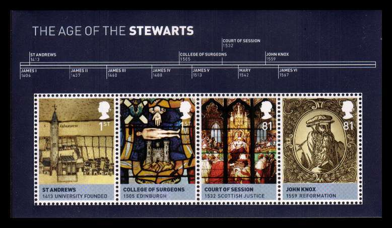 view larger image for SG MS3053 (23 Mar 2010) - Kings and Queens - 3rd Issue<br/>The House of Stewart minisheet