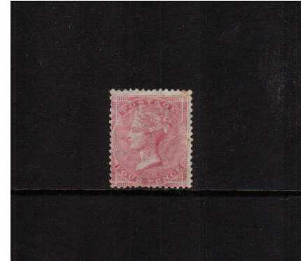 view larger image for SG 66 (1857) - 4d Rose-Carmine Large Garter an unused single with small tone spot (looks far worse on the scan!!) no gum and average centering. SG Cat �1500