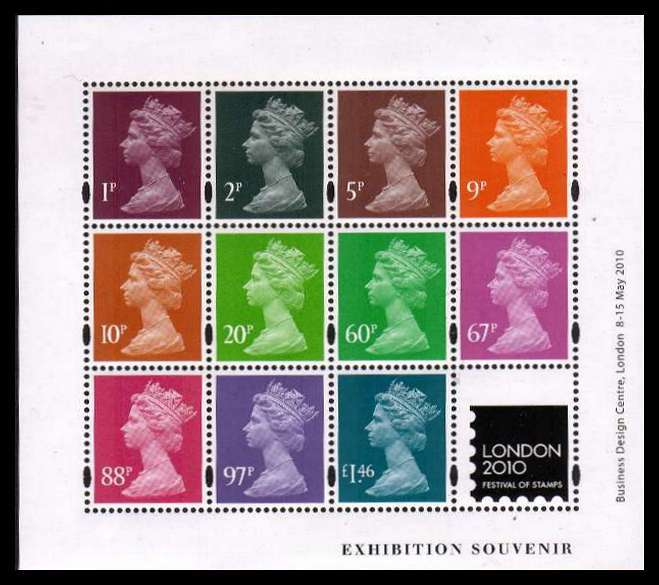 view larger image for SG MS3073 (8 May 2010) - London 2010 - Machin Exhibition  Souvenir Sheet