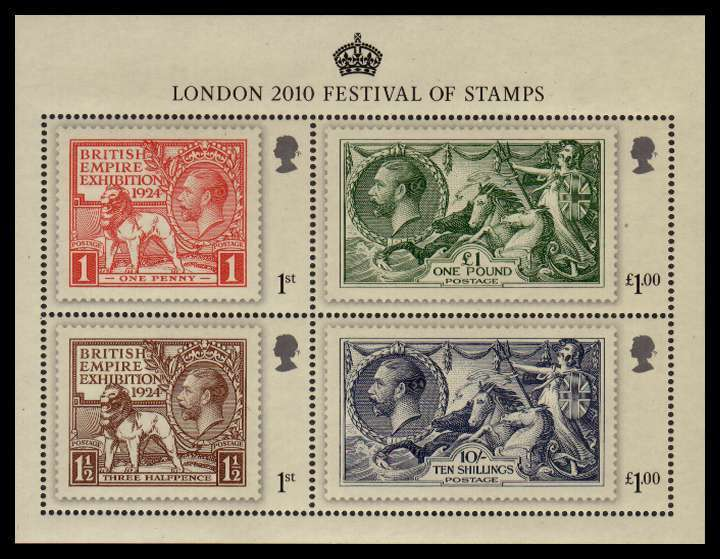 view larger image for SG MS3072 (8 May 2010) - London 2010 - The King's Stamps minisheet