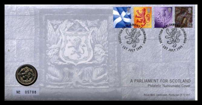 view larger image for SG RMC19 (1999) - Royal Mail and Royal Mint commemorative cover commemorating: <br/>''A PARLIAMENT FOR SCOTLAND'' - �1 coin<br/><br/>SG Cat �20
