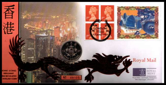 view larger image for SG RMC11 (1997) - Royal Mail and Royal Mint commemorative cover commemorating:<br/>Transfer of HONG KONG to Chinese rule - HK $5<br/><br/>SG Cat �20