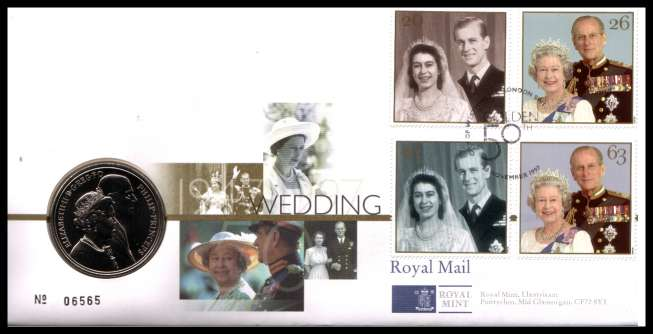 view larger image for SG RMC13 (1997) - Royal Mail and Royal Mint commemorative cover commemorating:<br/>Queen's Royal Golden Wedding - �5 coin<br/><br/>SG Cat �24