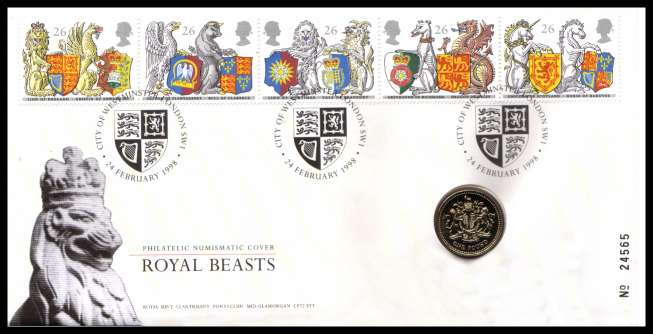 view larger image for SG RMC14 (1998) - Royal Mail and Royal Mint commemorative cover commemorating:<br/>650th Anniversary of Order of the Garter - �1 coin<br/><br/>SG Cat �20