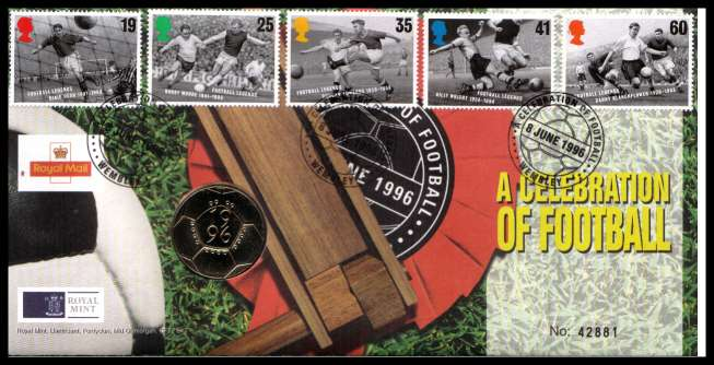 view larger image for SG RMC8 (1996) - Royal Mail and Royal Mint commemorative cover commemorating:<br/>A Celebration of Football - �2 coin<br/><br/>SG Cat �20