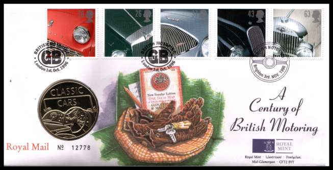 view larger image for SG RMC9 (1996) - Royal Mail and Royal Mint commemorative cover commemorating:<br/>Classic Sports Cars - medal<br/><br/>SG Cat �20