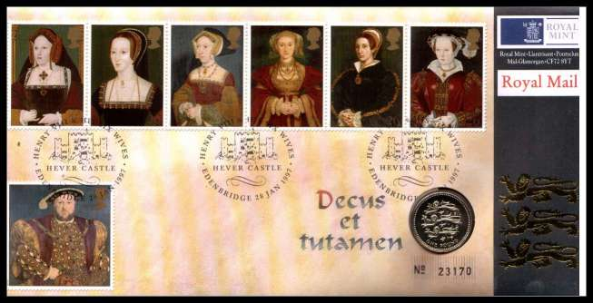 view larger image for SG RMC10 (1997) - Royal Mail and Royal Mint commemorative cover commemorating:<br/>450th Death Avviversary of King Henry VIII - �1 coin<br/><br/>SG Cat �20