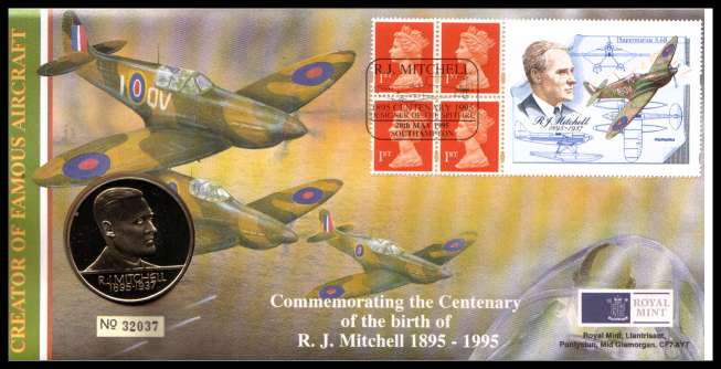 view larger image for SG RMC4 (1995) - Royal Mail and Royal Mint commemorative cover commemorating:<br/>Birth Centenary of R. J. Mitchell - Spitfire - medal<br/><br/>SG Cat �20