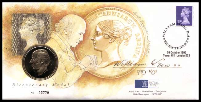 view larger image for SG RMC6 (1995) - Royal Mail and Royal Mint commemorative cover commemorating:<br/>200th Birth Anniversary of William Wyon - medal<br/><br/>SG Cat �20