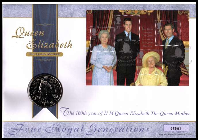 view larger image for SG RMC24 (2000) - Royal Mail and Royal Mint commemorative cover commemorating:<br/>Queen Mother 100th Birthday - �5 coin<br/><br/>SG Cat �24