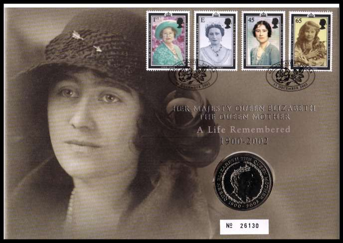 view larger image for SG RMC32 (2002) - Royal Mail and Royal Mint commemorative cover commemorating:<br/>Queen Mother Commemoration - �5 coin<br/>