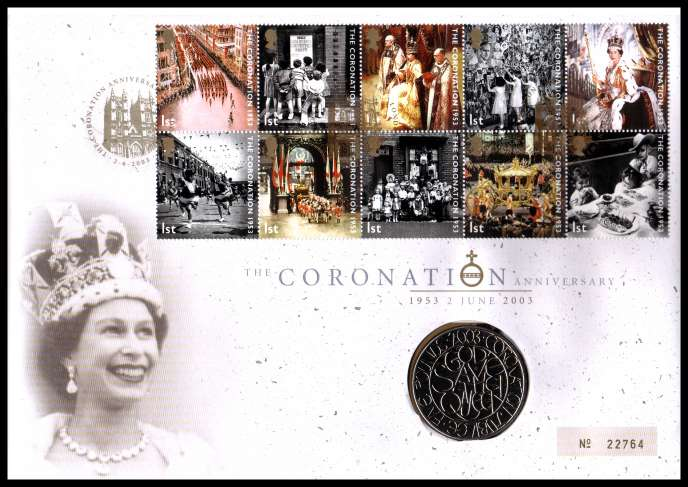 view larger image for SG RMC34 (2003) - Royal Mail and Royal Mint commemorative cover commemorating:<br/>50th Anniversary of Coronation - �5 coin<br/>