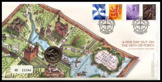 view larger image for SG RMC41 (2004) - Royal Mail and Royal Mint commemorative cover commemorating:<br/>Scotland Definitives - �1 coin<br/>