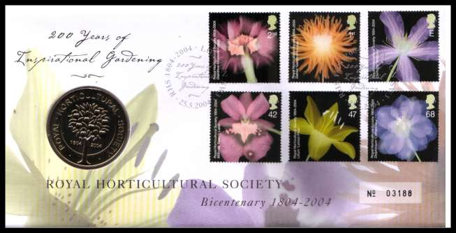 view larger image for SG RMC40 (2004) - Royal Mail and Royal Mint commemorative cover commemorating:<br/>Royal Horticultural Society - medal<br/>