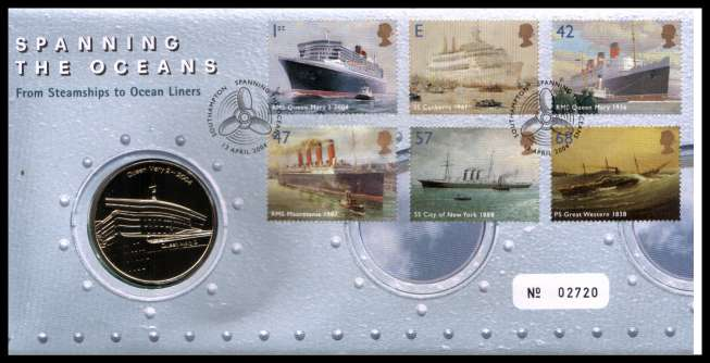 view larger image for SG RMC39 (2004) - Royal Mail and Royal Mint commemorative cover commemorating:<br/>Ocean Liners - medal<br/>