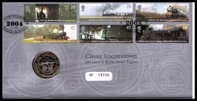 view larger image for SG RMC37 (2004) - Royal Mail and Royal Mint commemorative cover commemorating:<br/>Classic Locomotives - �2 coin<br/>