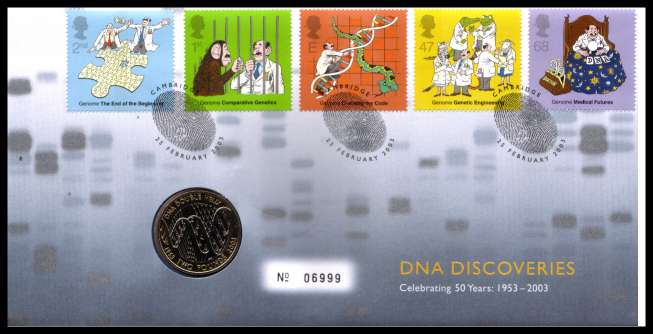 view larger image for SG RMC33 (2003) - Royal Mail and Royal Mint commemorative cover commemorating:<br/>DNA Discoveries - �2 coin<br/>