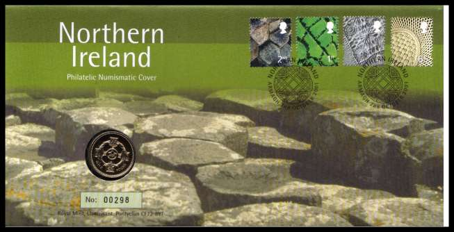 view larger image for SG RMC28 (2001) - Royal Mail and Royal Mint commemorative cover commemorating:<br/>Northern Ireland definitives - �1 coin<br/>
