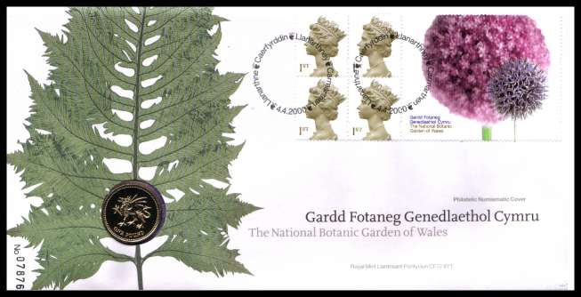 view larger image for SG RMC22 (2000) - Royal Mail and Royal Mint commemorative cover commemorating:<br/>National Botanic Gardens of Wales - �1 coin<br/>