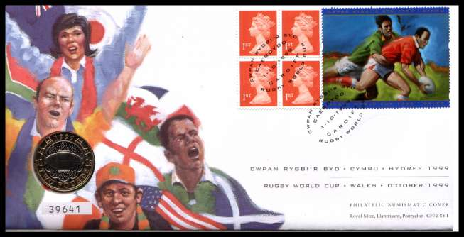 view larger image for SG RMC20 (1999) - Royal Mail and Royal Mint commemorative cover commemorating:<br/>Rugby World Cup - �2 coin<br/>