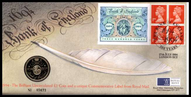view larger image for SG RMC3 (1994) - Royal Mail and Royal Mint commemorative cover commemorating:<br/>Bank of England - �2 coin<br/>
