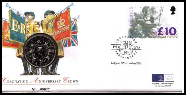 view larger image for SG RMC1 (1993) - Royal Mail and Royal Mint commemorative cover commemorating:<br/>40th Anniversary of Coronation - �5 coin<br/>
