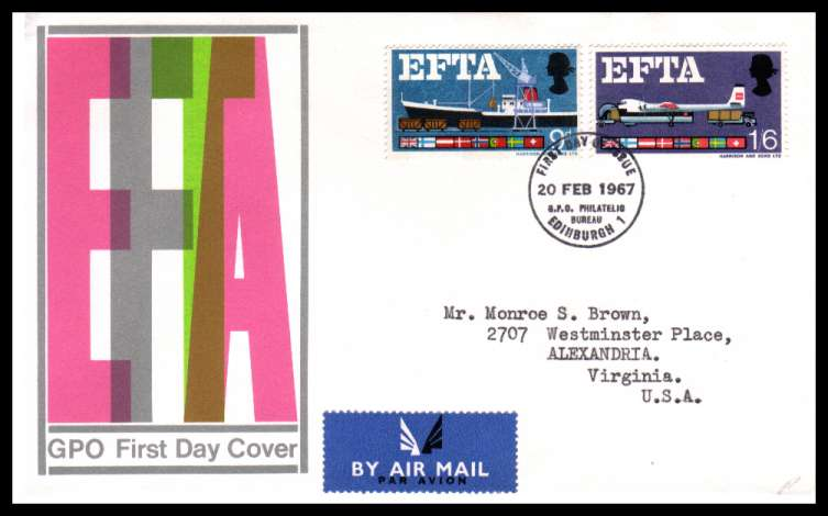view larger back view image for EFTA (European Free Trade Association) <b> PHOSPHOR</b> on official GPO illustrated colour FDC cancelled with a PHILATELIC BUREAU - EDINBURGH FDI handstamp dated 20 FEB 1967.