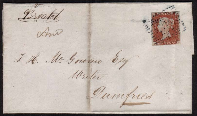 view larger front view of image for 1d Red Brown, four close margins, on small complete entire cancelled with a light Scottish cancel in DARK BLUE probably 103 for CARRICKMACROSS and also backstamped SANQUHAR 21 OC 1847 in BLUE. Unlisted in DANZIG