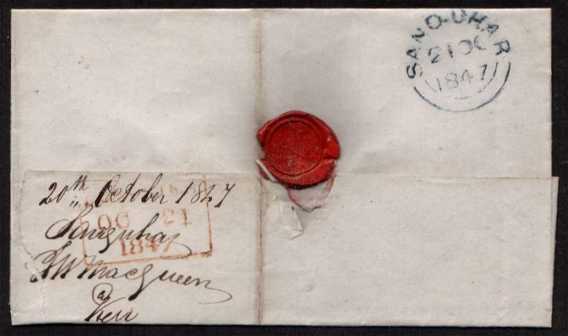 view larger back view of image for 1d Red Brown, four close margins, on small complete entire cancelled with a light Scottish cancel in DARK BLUE probably 103 for CARRICKMACROSS and also backstamped SANQUHAR 21 OC 1847 in BLUE. Unlisted in DANZIG