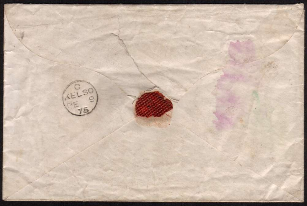 view larger back view of image for An amazing richly EMBOSSED undamaged, local  VALENTINES envelope bearing a Penny Red from Plate 160 lettered ''P-I' cancelled with a Scottish 193 for KELSO also backstamped KELSO FE 9 75. Rare so fine!
