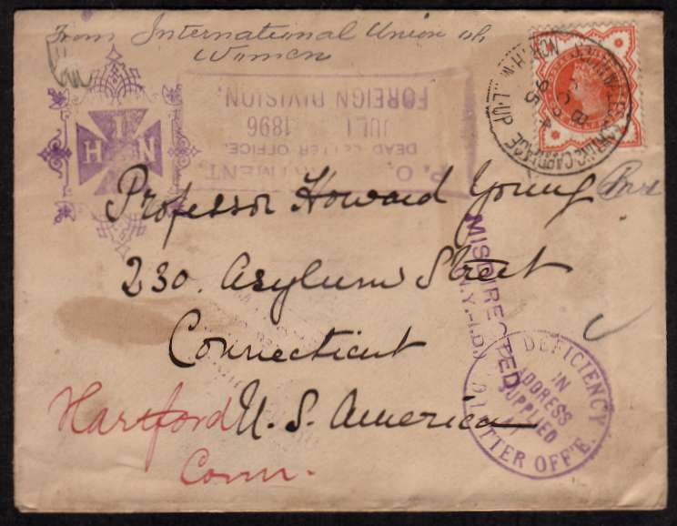 view larger front view of image for �d Vermilion on a complete envelope cancelled with a SOUTH WALES SORTING CARRIAGE steel CDS dated OC 24 95 to Connecticut USA and bearing several US cancels for MISDIRECTED etc Unusual.