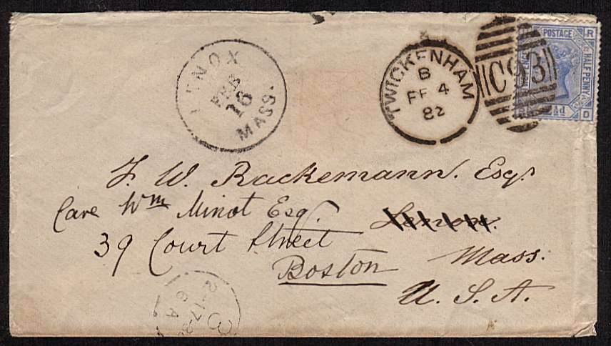 view larger front view of image for 2�d Blue from Plate 22 lettered 'R-D' cancelled with a C93 duplex for TWICKENHAM dated FE 4 82 on small complete envelop to BOSTON USA and then re-directed.