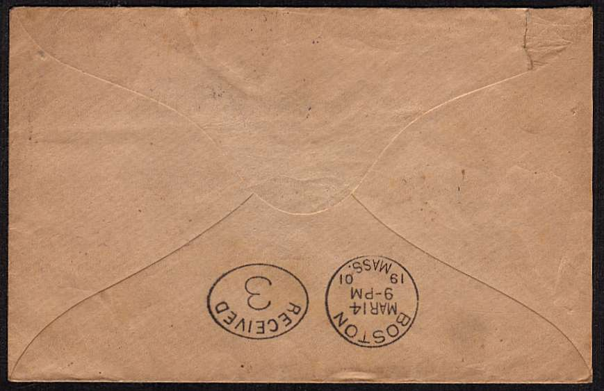 view larger back view of image for �d Blue-Green and two 1d Lilacs on small complete envelope cancelled with a London 'squared circle' cancel for NORWOOD S.E. dated MR 5 01 and a lovely crisp BOSTON arrival mark on the back dated MAR 14 19 01. It wont get there any quicker today!!!