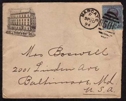 view larger front view of image for 2�d Purple on Blue on an illustrated HOTEL envelope (of the GRESHAM HOTEL in DUBLIN) cancelled with a MARGATE duplex dated SP 20 94 to BALTIMORE - MARYLAND - USA.