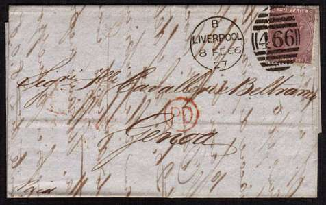 view larger front view of image for 6d Deep Lilac - Plate 5 lettered 'S-L' on entire crisply cancelled with a LIVERPOOL duplex dated 8 FE 66 to GENOA with arrival mark on back only 4 days later!!