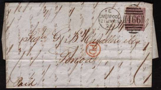 view larger front view of image for 6d Lilac - Plate 5 lettered 'L-A' on entire crisply cabcelled with a LIVERPOOL duplex dated 21 JY 65 to GENOA with in indistict arrival mark