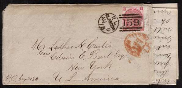 view larger front view of image for 3d Rose from Plate 10 lettered 'S-D' cancelled with a GLASGOW duplex dated AU 9 73 to NEW YORK USA and containing a long letter. Scare stamp on cover. SG Cat �175