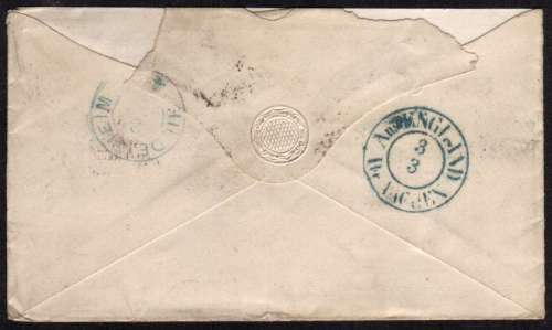 view larger back view of image for 6d Lilac - with hyphen - from Plate 6 - lettered 'N-F' - Watermark Emblems cancelled with a LONDON E.C. duplex to GERMANY. SG Cat �300