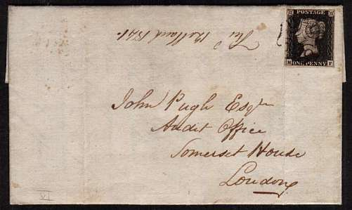 view larger front view of image for 1d Black with four margins Plate 6 lettered 'M-F' cancelled with a Black Maltese Cross on entire from WESHPOOL to AUDIT OFFICE -  SOMERSET HOUSE backstamped WESHPOOL MA 10 1841 with a LONDON arrival mark a day later. Great letter about shy gun dog!