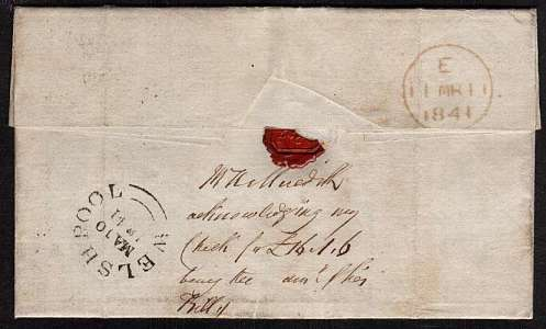 view larger back view of image for 1d Black with four margins Plate 6 lettered 'M-F' cancelled with a Black Maltese Cross on entire from WESHPOOL to AUDIT OFFICE -  SOMERSET HOUSE backstamped WESHPOOL MA 10 1841 with a LONDON arrival mark a day later. Great letter about shy gun dog!
